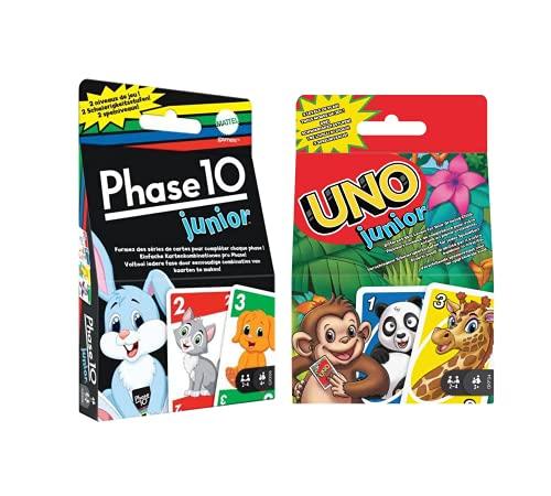 Mattel Games - Juego de cartas para niños (fase 10 junior + UNO junior (para 2-4 jugadores, a partir de 3 años)