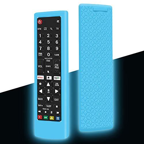 Funda Protectora de Silicona Compatible con Mando LG Control AKB75095308 AKB74915324 AKB75095307 AKB73715601 Antideslizante Carcasas Protección Funda para LG Remote - Glow Blue