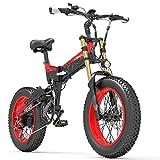 X3000plus-UP Bicicleta de Nieve de 20 Pulgadas con neumáticos Gruesos y 4.0, Bicicleta montaña Plegable, Motor 1000W, Horquilla Delantera Mejorada (Black Red, 14.5Ah + 1 batería Repuesto)