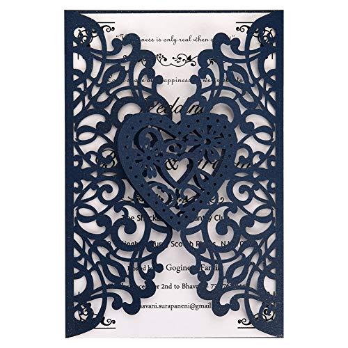 FOMTOR - Invitaciones de boda cortadas con láser, 50 unidades, papel imprimible en blanco y sobres para bodas, fiestas de cumpleaños, baby shower (azul marino)