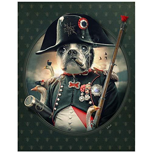 Póster de perro pirata fumador, imágenes artísticas de pared, pintura en lienzo impresa, decoración del hogar, decoración impresa en lienzo-60x90 cm sin marco