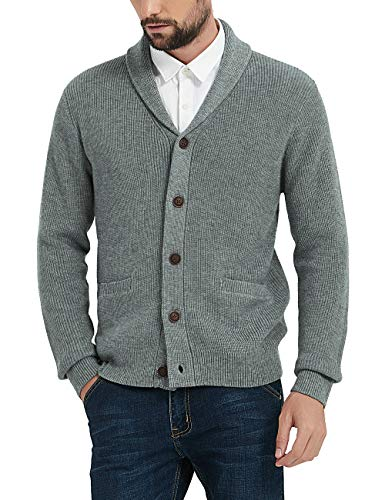 Kallspin Men's Merino Wool Blended Shawl Collar Cardigan Sweater Button Down Knitwear with Pockets (Light Grey, XXX-Large)