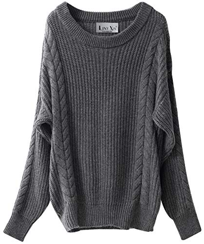 Liny Xin Women's Cashmere Oversized Loose Knitted Crew Neck Long Sleeve Winter Warm Wool Pullover Long Sweater Dresses Tops (Grey)