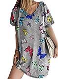Mini Vestido de Mariposa de Manga Corta para Mujer Vestido de Verano de Verano Camiseta Larga de Playa con Cuello en V de Vacaciones