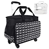 Sewing Machine Carrying Case, Collapsible Trolley Bag with Wheels for Brother, Bernina, Singer and Most Standard Machines, Detachable Trolley Dolly Tote, Boarding Bag for Trip,Black