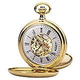 Reloj de bolsillo para hombre Regent mecánico, esqueleto con cadena de metal chapado en oro, analógico P 37K