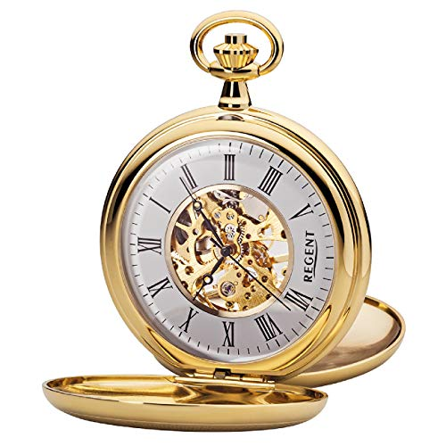 antiguo reloj de bolsillo con tapa metalica sobre la esfera