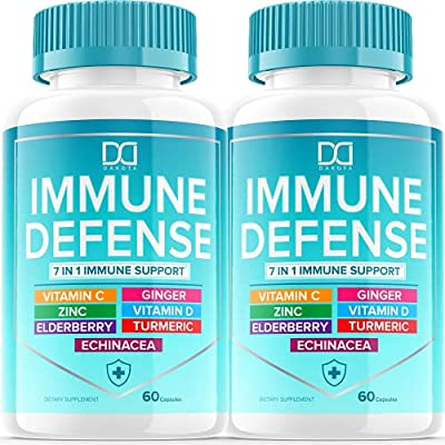 Immunity Vitamins Support System Booster 7 in 1 Supplement with Zinc 50mg, Vitamin C Elderberry VIT D3 5000 IU, Turmeric Curcumin & Ginger, Echinacea - Allergy Immune Defense for Kids Adults (2 Pack) by Fit Ox