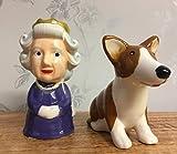 Königin Elizabeth & Corgi Salz- & Pfefferstreuer aus Keramik, Geschenk-Set