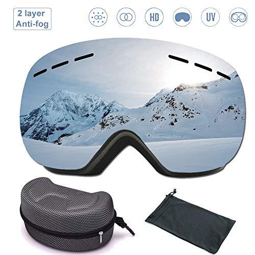 Dentuso Skibril, brildragers voor dames en heren, anti-condens, uv-bescherming, dubbellaags anti-condens, PC-lens, verwisselbare sferische lens, snowboardbril, zilver, voor skiën of skaten