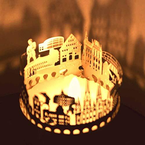 Oldenburg-Skyline Windlicht Schattenspiel Souvenir, 3D Edelstahl Aufsatz für Kerze inkl. Karte