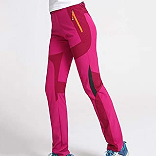 Cool Thin UV Protection Waterproof Pants Hiking Pants for Outdoor Sport Women's Rose Red Quick Dry Pants Cloth (Size : XL)