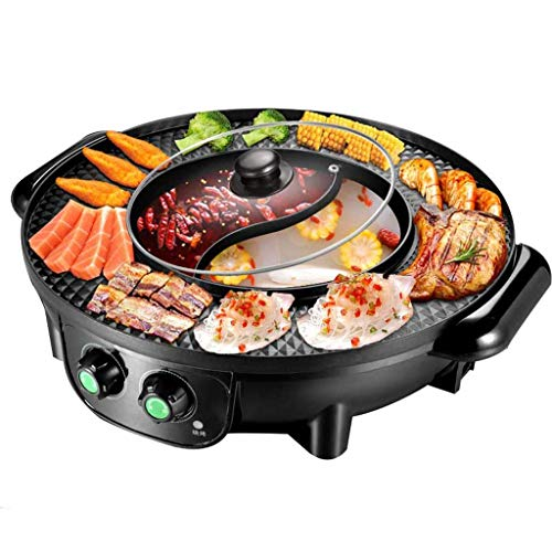 Coréen Électrique Grill Maison Multifonction sans Fumée Hot Pot Barbecue Intégré Antiadhésif Barbecue Machine Barbecue Hot Pot (Taille:A)