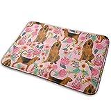 NI Tejido para Perros Bloodhound Perros y Flores Piso de Color Rosa Entrada de baño Alfombra Alfombrilla Absorbente Decoración de baño Interior Alfombras de Goma Antideslizante 15.7'X 23.5'