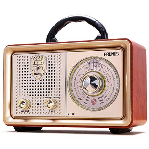 Radio portátil PRUNUS J-110BT FM Am(MW) Bluetooth SW AUX MP3. con un clásico gabinete Retro de Madera. Altavoz de 5W Incorporado, sin Enchufe para Auriculares. (Oro)