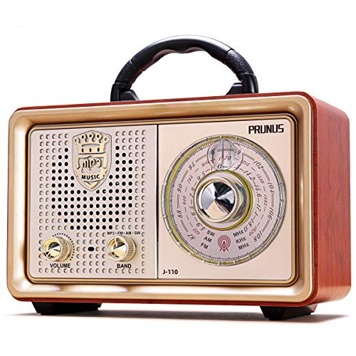 Radio Portatile FM AM(MW) SW Bluetooth AUX MP3 PRUNUS J-110BT. Dal corpo classico vintage retrò simile al legno. Altoparlante da 3W integrato, senza auricolari Presa (Oro)