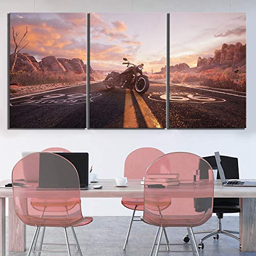 ksjdjok Pinturas de paisajes Números de Ruta Route 66 Poster HD Cuadros de la Pared Pinturas de la Lona para la decoración de la Pared 40X60 cm 3 Piezas