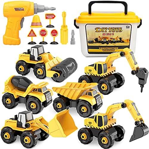 Vanplay Montage Große LKW Spielzeug DIY 6-in-1 BAU Bagger Spielzeug mit Elektrische Bohrmaschine Schraubendreher für Kinder Jungen Mädchen 3 Jahren