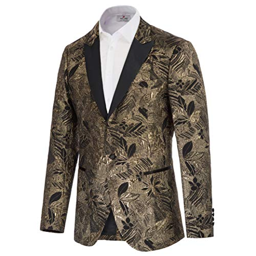 Men's Dress Floral Suit Jacket Notched Lapel Slim Fit Prom Tuxedo Blazer Gold S