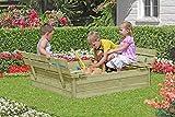Sandkasten / Sandbox mit Abdeckung und Sitzbänken 120x120x25cm Kiefernholz Holz KDI