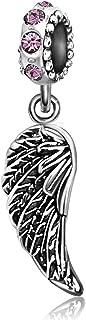 JMQJewelry Angel Wings Feathers Guardian Pendant Dangle Birthstone Charm Bead Fit Bracelets Christmas