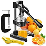 Professional Citrus Orange Juicer with Fixtures C-ClAMP - One-Hand Operation, No Tipping - Large Manual Juicer, Citrus Press, Lime Lemon Squeezer - Heavy Duty Metal Squeezer Press Stand