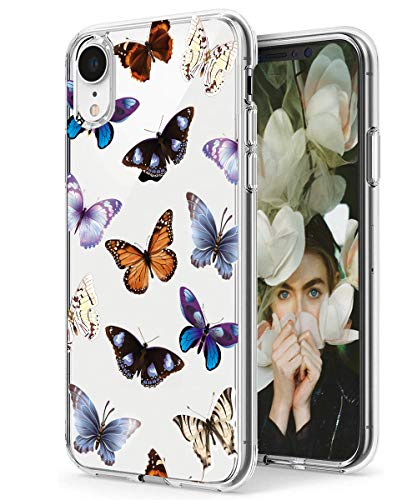 iPhone XR Case,Spevert Flower Pattern Printed Clear Design Transparent Hard Back Case with TPU Bumper Cover for iPhone XR 6.1 inch 2018 Released - Butterfly