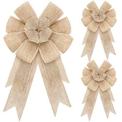WILLBOND 3 Pieces 8.8 x 16 Inches Christmas Burlap Bows Natural Christmas Tree Topper Bow Holiday Decorative Bows Burlap Ribbon Bow Christmas Decorative Burlap Bow for Xmas Tree Home Decor