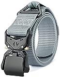 DEYACE Tactical Belt, Military Hiking Survival Holster Heavy Duty Work Belts for Men and Women, 115-165cm No Stretch (Silver Gray, 2XL Waist 50'-54' Width 1.5')