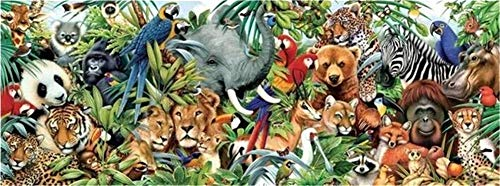 DIY 5D Diamond Embroidery Paintings by Number Kits,Crystal Rhinestone Pictures Arts Craft for Home Wall Decor,Full Drill,African Wild Animals -L9005-Round Drill,35x70cm(13.8 * 27.6inch)