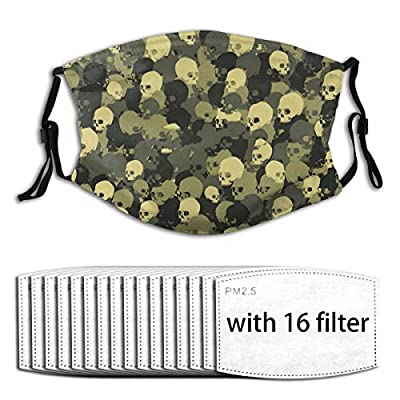 Skull Camo Reusable Activated Carbon Filter Face Shield With 16 Filter Replaceable for Men Women