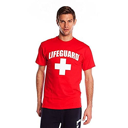 b80be9ee96451 NY Popular Lifeguard T-Shirt Official Licensed Life Guard Tee Red Medium
