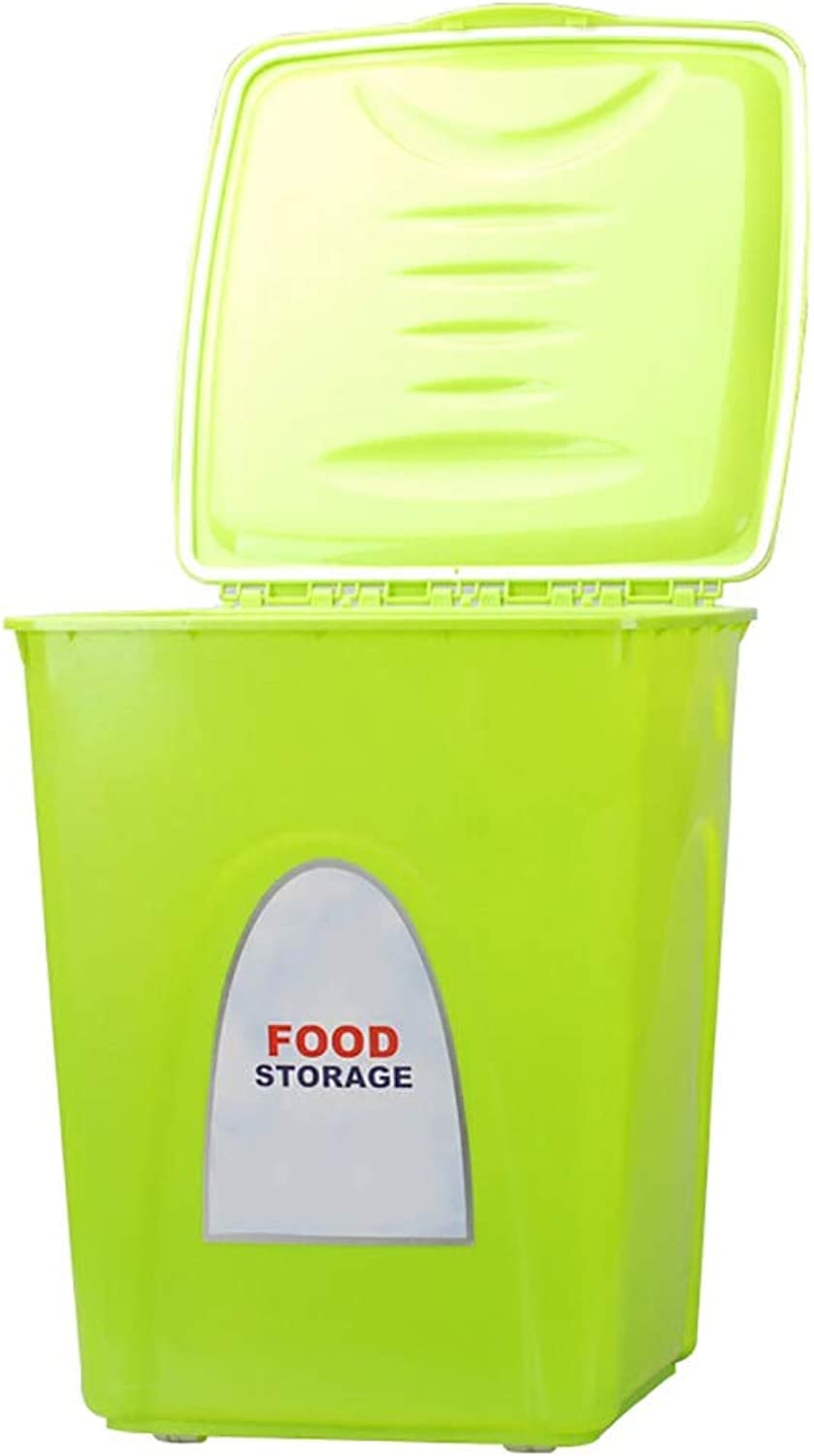Dog & Cat Food Container Fresh Dry Pet Food PP Resin Storage Container with 4 Wheels Rolling Design 1 Food Shovel for Kibble Bird Seed Rice and Bulk Food Green (Size   S (28x28x32cm))