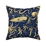 Roostery Throw Pillow, Deep Sea Divers Nautical Nursery and Watercolor Squid Octopus Submarine Steampunk Mermaid Print, Linen-Cotton Canvas, Knife Edge Accent Pillow 18in x 18in Optional Insert