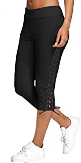 Sponsored Ad - Juybenmu Women Lace up Casual Capri Pants Leggings Elastic Waist Pure Color 3/4 Length Trousers with Adjust...