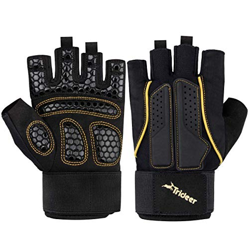 Trideer Ladies Fingerless Gym Weight Lifting Gloves Workout Women's Exercise Gloves for Fitness, Climbing, Boating, Dumbbells, Cross Training, Breathable & Non-Slip (Black&Gold, S)