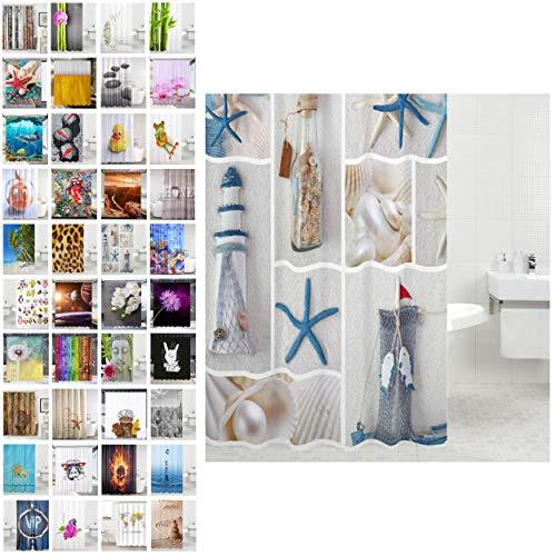 Sanilo Duschvorhang, viele schöne Duschvorhänge zur Auswahl, hochwertige Qualität, inkl. 12 Ringe, wasserdicht, Anti-Schimmel-Effekt (Meeresbrise, 180 x 200 cm)