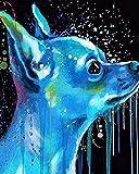 Pintar por Numeros DIY Cuadro al óleo con números Perro azul acuarela para Kit de Pintura al óleo Digital para Adultos y niños de Lienzo decoración para el hogar 40x50cm Sin Marco
