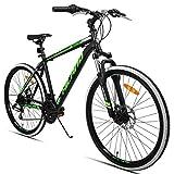 HILAND 24 Zoll Mountainbike mit Scheibenbremse für Männer Frauen Jungen Mädchen, 21 Geschwindigkeiten Shimano-Antrieb, schwarz weiß
