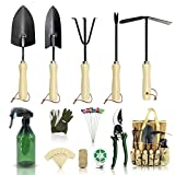YARTTING Gardening Tool Set-28 Piece, Newest Version, Heavy Duty Garden Tools Includes Ergonomic Wooden Hand Weeder Culti-Hoe, Trowel, Garden Tote and More-Gardening Gifts for Men Women