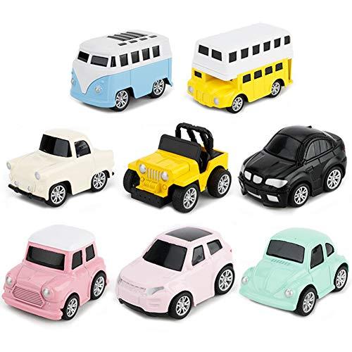 Tire Hacia Atrás el Coches de Juguetes Miniature Camion Modelos para Niños y Niñas, Pack de 8 vehículos