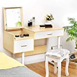 Nightcore Vanity Writing Desk with Flip Top Mirror, Makeup Table with Large Drawers, Wood