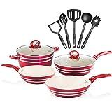 Chefs Star Set de casseroles et poêles en aluminium - set de cuisine 11 pièces Rouge