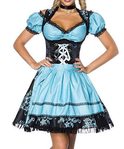 Dirndl Kleid Kostüm mit Bluse und Schürze aus Jacquard Stoff und Spitze Spitzenstoff Oktoberfest Dirndl blau/schwarz XXXL Oberteil dunkel