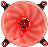 Abatap 120mm Standard Ventilateur de Boîtier Ultra Silencieux Ordinateur Ventilateur de Refroidissement avec Support Amovible et Coque en Silicone Pad 4Couleurs et RVB 1 Pack Rouge