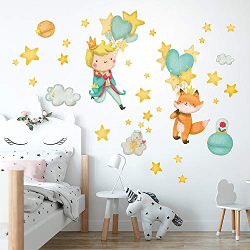 R00551 Adesivi Murali Soffice Effetto Tessuto Piccolo Principe Decorazione Muro Bambino Neonato Nursery Cameretta Asilo Nido Carta da Parati Adesiva