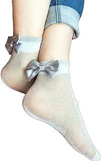 a75094343 Fashion Women Ultra Thin Sheer Bowknot Bright Silk Socks Ankle Soft Heap  Socks