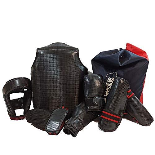 JXS Boxen Trainingsgeräte 6-teiliges Set-Sanda Karate Schutz - Fuß-Schutzausrüstung für den Kampfsport, Sparring, BJJ, Karate,Schwarz,140~165cm