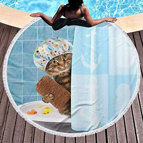 Duanrest Strandtuchdecke Lustige Badekatze mit Handtuch-Entenspielzeug in der Badewanne Pool Strand Yoga Picknick Teppich Matte Erwachsene 59 Zoll