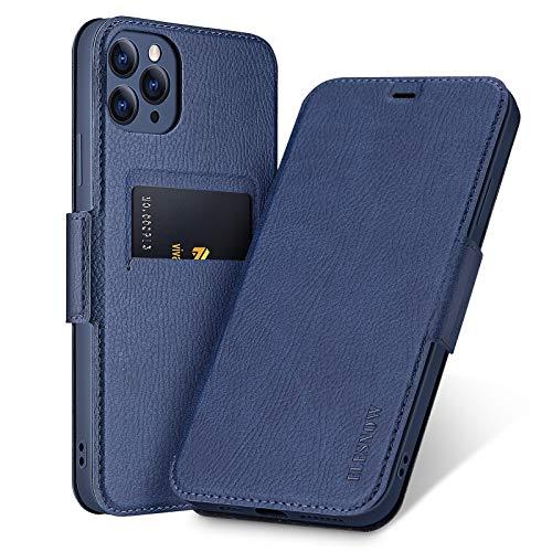 ELESNOW Funda para iPhone 11 Pro, Carcasa de Cuero con Cierre Magnético y Tarjetero para Apple iPhone 11 Pro 5.8 Pulgada (Azul Profundo)
